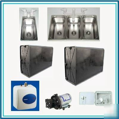 Concession trailer small sinks and water system package