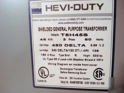Egs shielded general purpose 45 kva transformer on